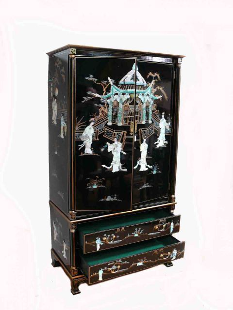 Black Lacquered Oriental Furniture With Mother Of Pearl Wardrobe