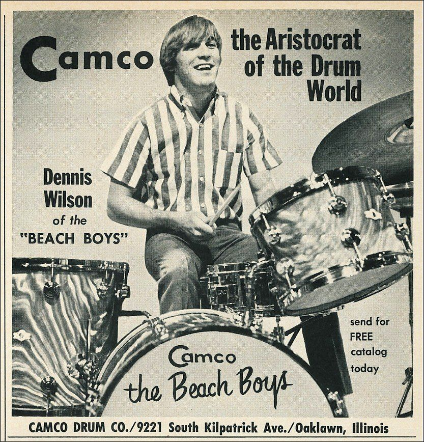 Camco Drums ad, featuring Dennis Wilson of the Beach Boys