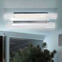 LED Decken Lampe 15 Watt Chrom Leuchte Glasplatte Beleuchtung Esszimmer Flur
