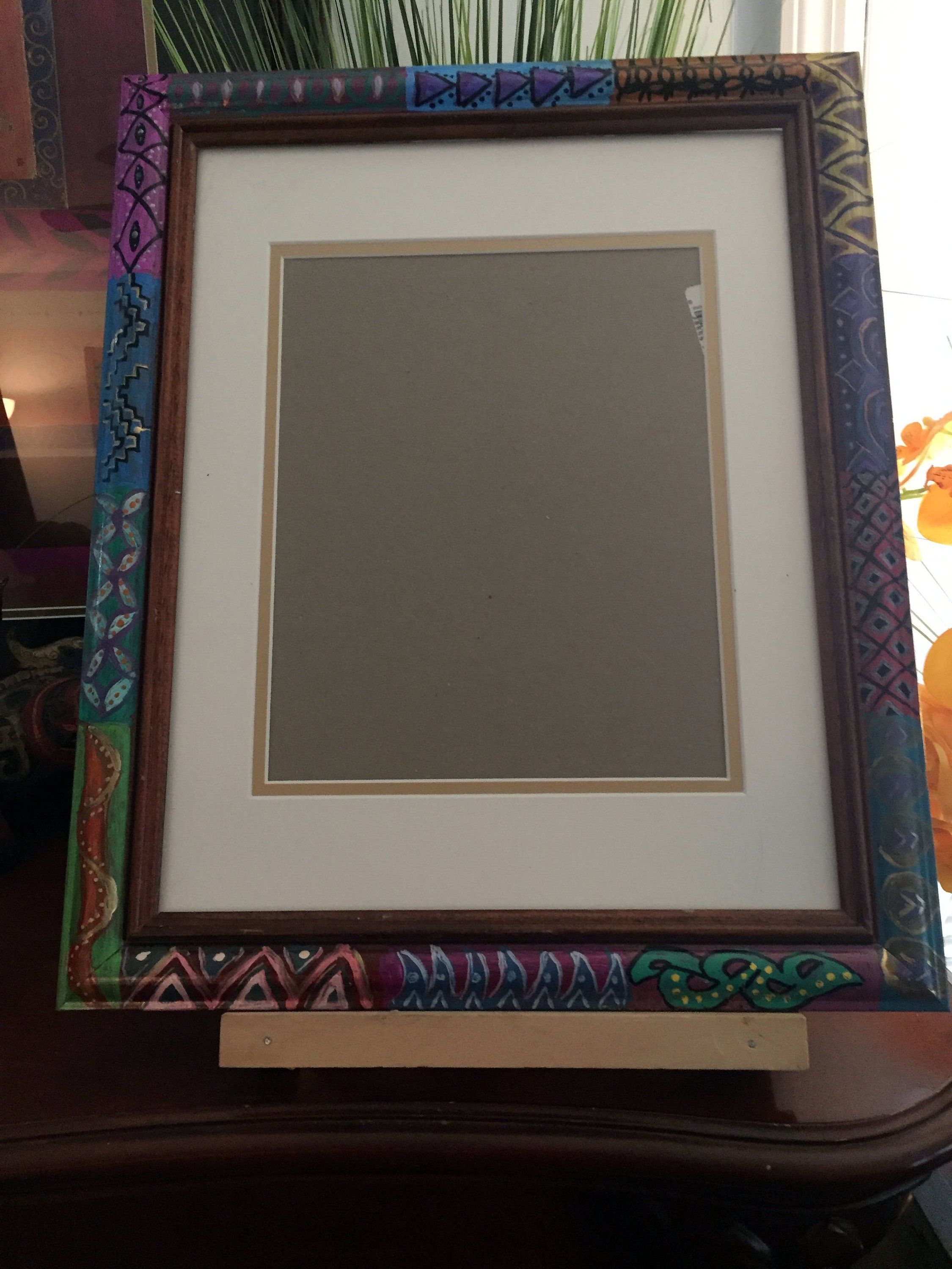 Hand Painted Bohemian Lady Of Autumn Picture Frame  7Hx7Wx1D  W0051