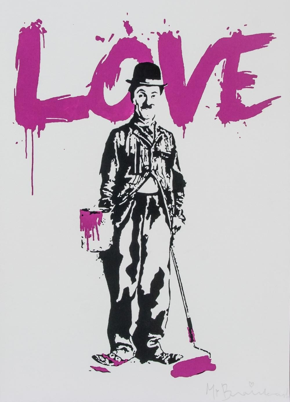 Banksy charlie chaplin with love painted above silkscreen