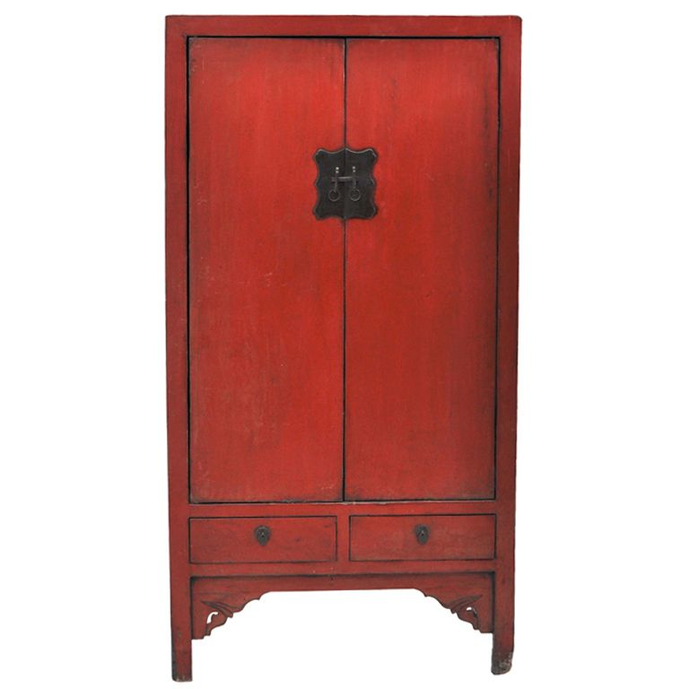 Ordinaire For Sale On   Square Cornered Chinese Cabinet With Two Drawers In The  Original Red Lacquer Finish.