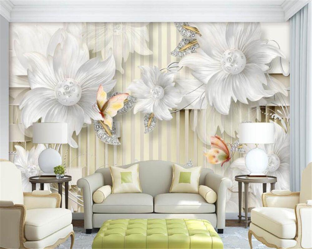 Beibehang Custom Wallpaper 3D HD Crystal Jewelry Diamond Flower ...