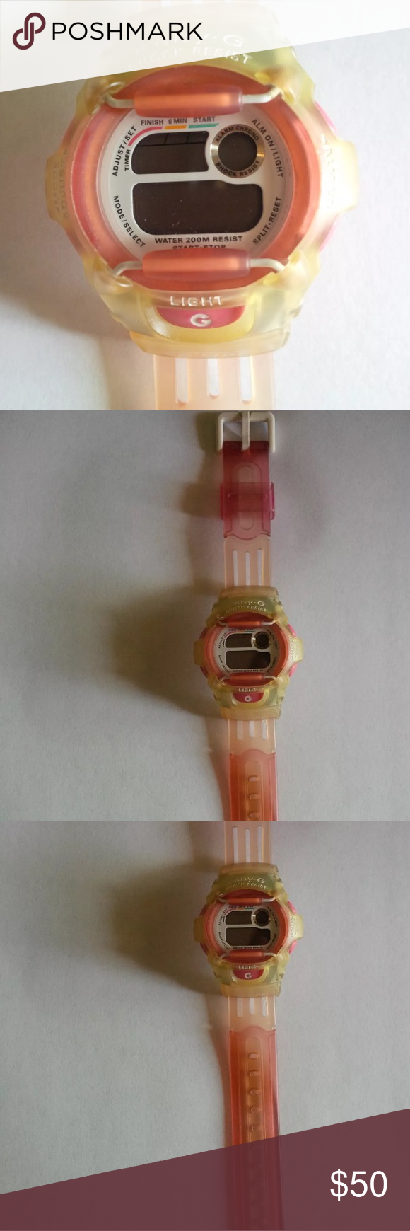✨Coming Soon✨Pink & Yellow G-Shock Watch How sporty and CUTE is this?! This item is a pre-owned Casio Women's Baby-G Shock Sport Watch in Pink/Yellow. In perfect working condition! All buttons and settings work. No scratches and minimal signs of use. Back of watch says water resistant, stainless steel, model BG-370 1619. It has a G-lide wristband. These are ALL THE RAGE right now!!✨Price negotiable! G-Shock Accessories Watches
