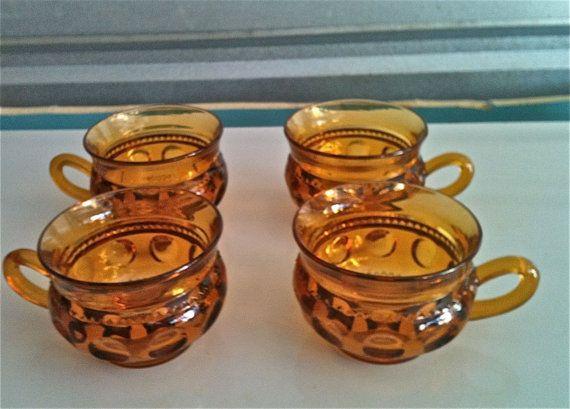 Vintage Kings Crown Thumbprint Amber Punch Cup Tea | Vintage