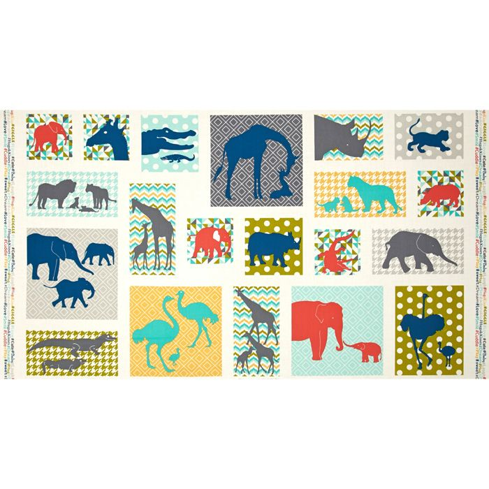 #Baby Chic Allover Blocks Teal Fabric