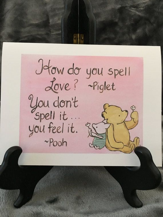 This beautiful greeting card note card is a print from my acrylic classic winnie the pooh and piglet greeting note card pooh quote love baby shower newborn baby all occasion pooh love card saying goodbye m4hsunfo