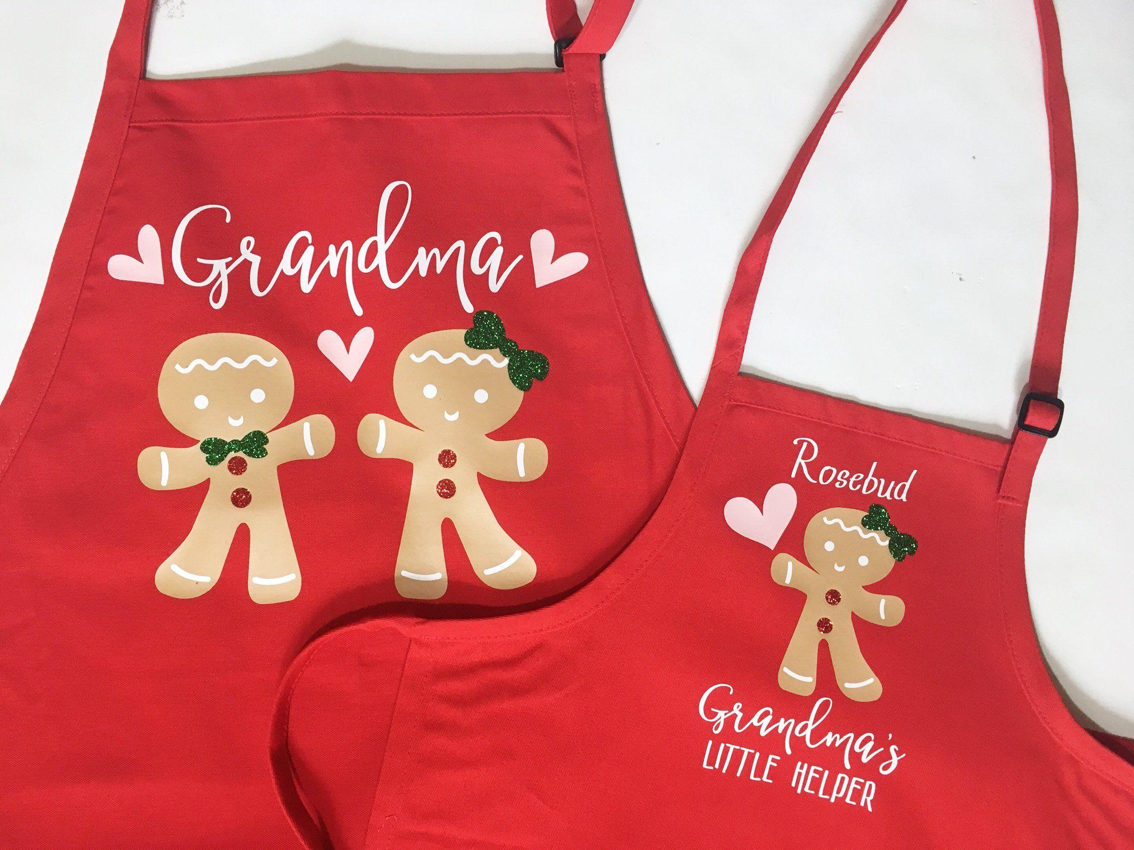 a0fe227b3862 Grandma Christmas apron, Child matching apron, cooking apron set, baking  apron, grandchild