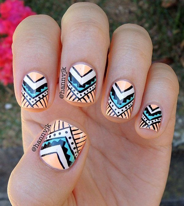 An adorable looking tribal inspired abstract nail art. Using a green, white and yellow color combination, the nail art design looks very cute and…