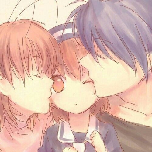 Okazaki Family Nagisa Ushio Tomoya Kiss Clannad Anime