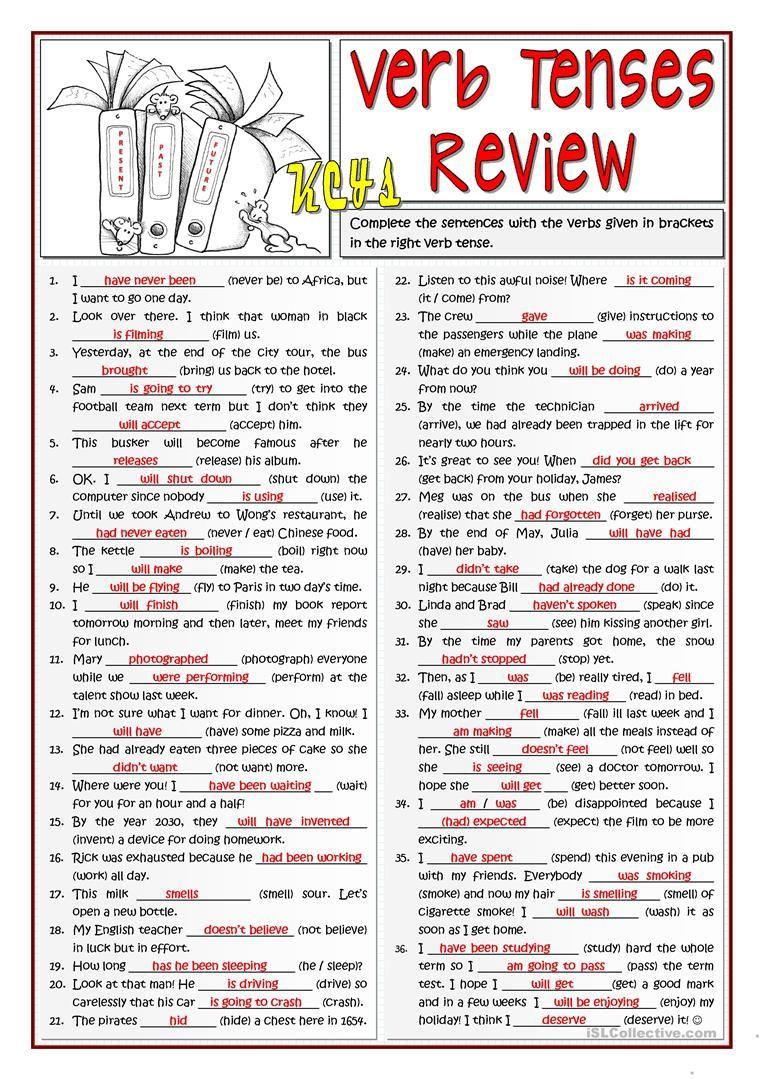 B1 Verb Tenses Review Worksheet Free Esl Printable Worksheets Made
