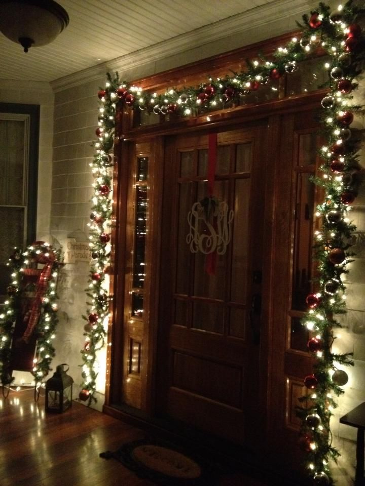 Garland Around Front Door Love With This Christmas Time