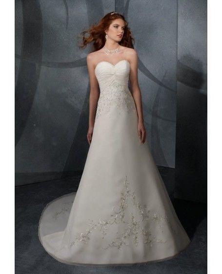 Chiffon A-line Embroidery Sleeveless Wedding Dress - Fancyladies.com