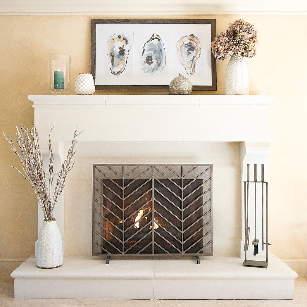 Chevron Fireplace Screen + Reviews | Crate and Barrel