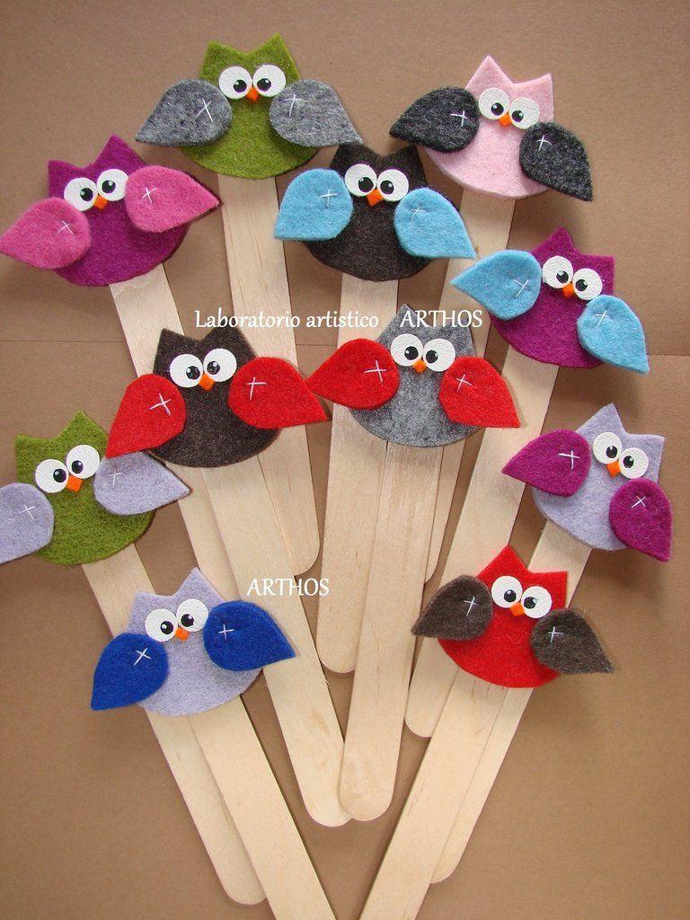 Segnalibro per bomboniere gufo in feltro e legno idea for Fai da te oggetti creativi