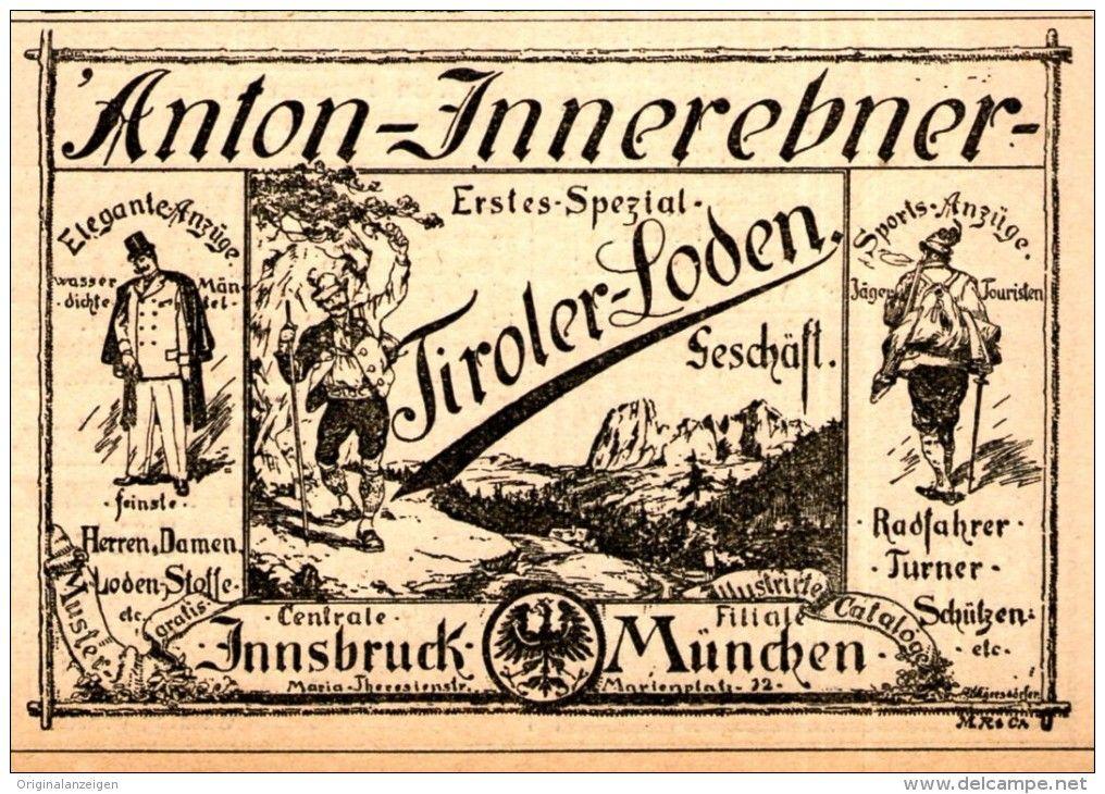 Original-Werbung/ Anzeige 1894 - TIROLER LODEN / ANTON INNEREBNER - INNSBRUCK - ca. 80 x 60 mm