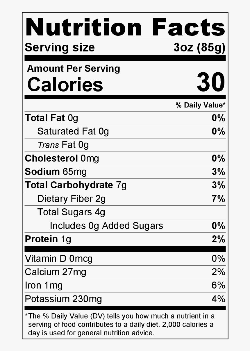 Transparent Romaine Lettuce Png Nutrition Facts Label