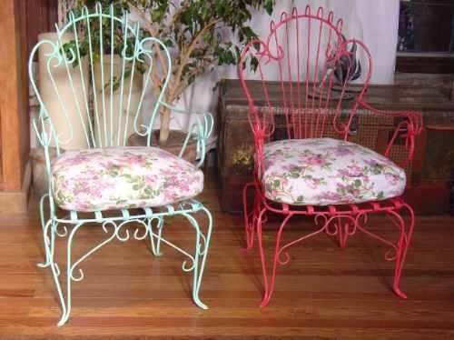 Restauraci n sillones hierro arenado juegos jardin for Sillas hierro jardin