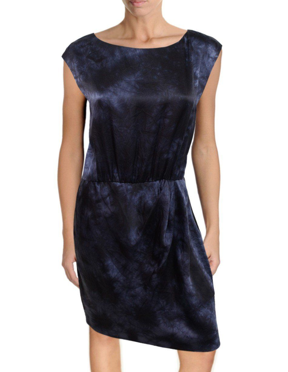 """Theory Arena Silk Sheath Dress, 10, Black Blue Tie-Dye Burnish. Theory Arena silk sheath dress, size 10. """"Burnish"""" material in subtle black, blue and gray tie-dye pattern. Boatneck, elastic waist, pulls on overhead. 100% silk, 100% silk lining. 19"""" underarm-to-underarm, 14.5"""" waist (elastic), 18"""" hips, 36"""" overall length."""