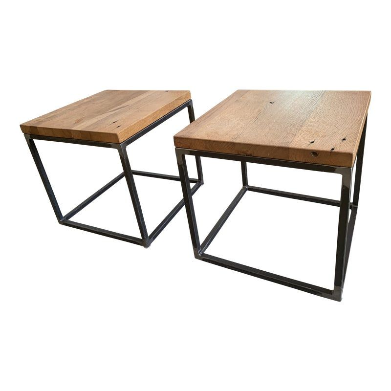 Wood And Iron Side Tables A Pair Table Cube Side Table Oak Table