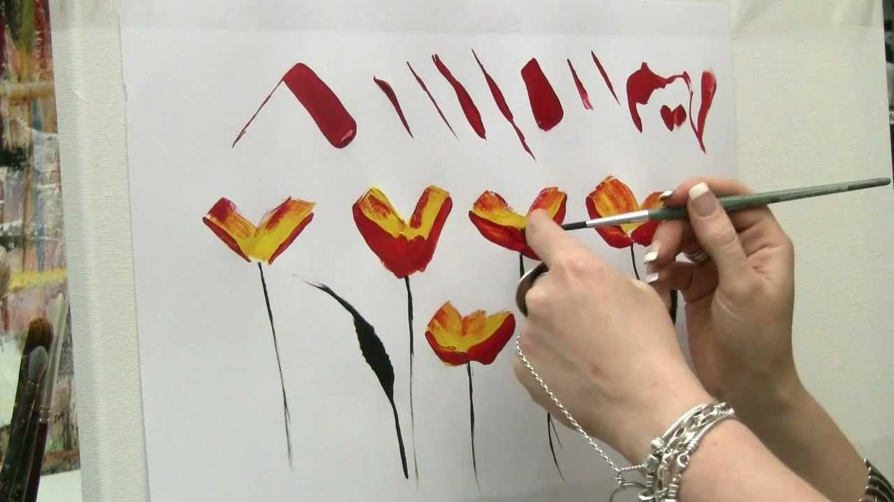Acrylmalen Malen Lernen Ubungen Zur Mohnblume Acrylic Painting