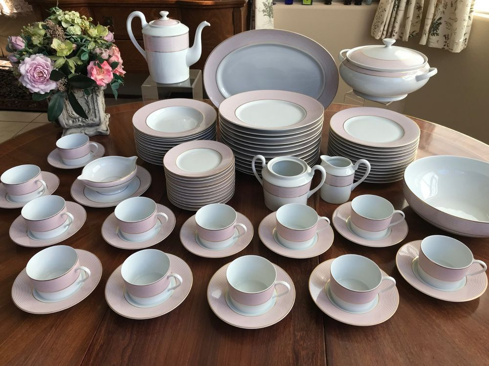 79 Piece Raynaud Limoges France Pink Crinoline Pattern China Set