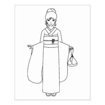 Girl In Japanese Kimono Dress Coloring Page Rubber Stamp Zazzle