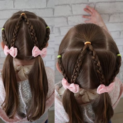 Super simple braided look today this took abou 10mins. #braidstyles #kidshairstyles #kidsfashion #pigtails #bows #toddlerhairstyles #schoolhairstyles #schoolhair #girlshairstyles #girlie #cute #mammyhairdresser #kidhair