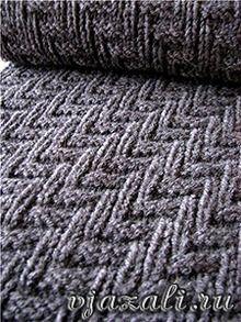 вязаный шарф эффектный мужской узор спицами Crochet вязание
