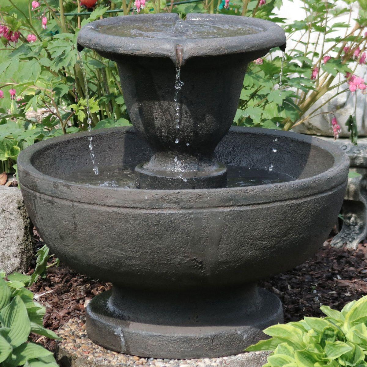 Sunnydaze Scrolled Vessel 2 Tier Outdoor Water Fountain 28 Inch Tall Garden Water Fountains Water Fountains Outdoor Water Fountain