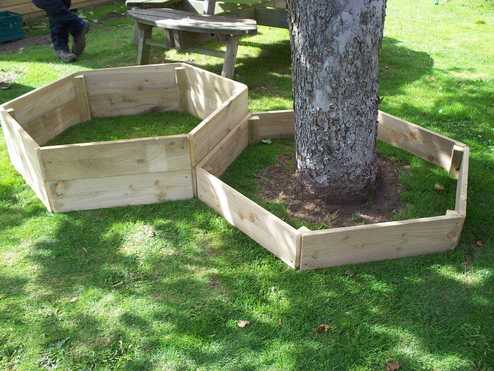 Lovely 1 X 30 Cm High Hexagonal Wood Raised Bed,Tanalised Wooden Garden / Tree  Border
