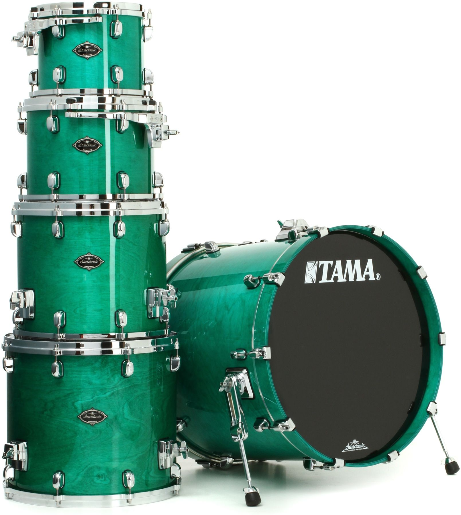 "Tama Starclassic Performer B/B Shell Pack - 5-Piece Vintage Aqua Marine | Sweetwater.com | 5-piece Birch and Bubinga Shell Pack with 22"" Bass Drum, 10"" and 12"" Mounted Toms, 12"" and 16"" Floor Toms, and Star-Cast Double Tom Holder - Vintage Aqua Marine"