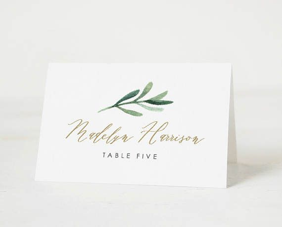Greenery Place Card Template Printable Place Cards Wedding Etsy Wedding Name Cards Printable Place Cards Wedding Wedding Place Cards