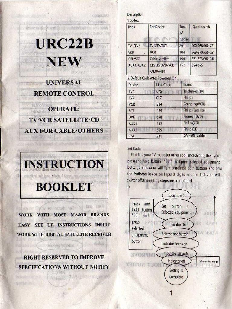 Instruction Booklet And Codes For The Urc22b Universal Remote Control Instructions Booklet Booklet Universal Remote Control