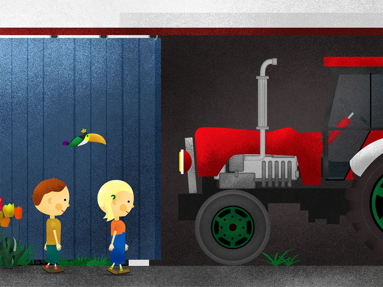 Illustration from Alma & Anker explore the Little Village Farm for iOS and Android