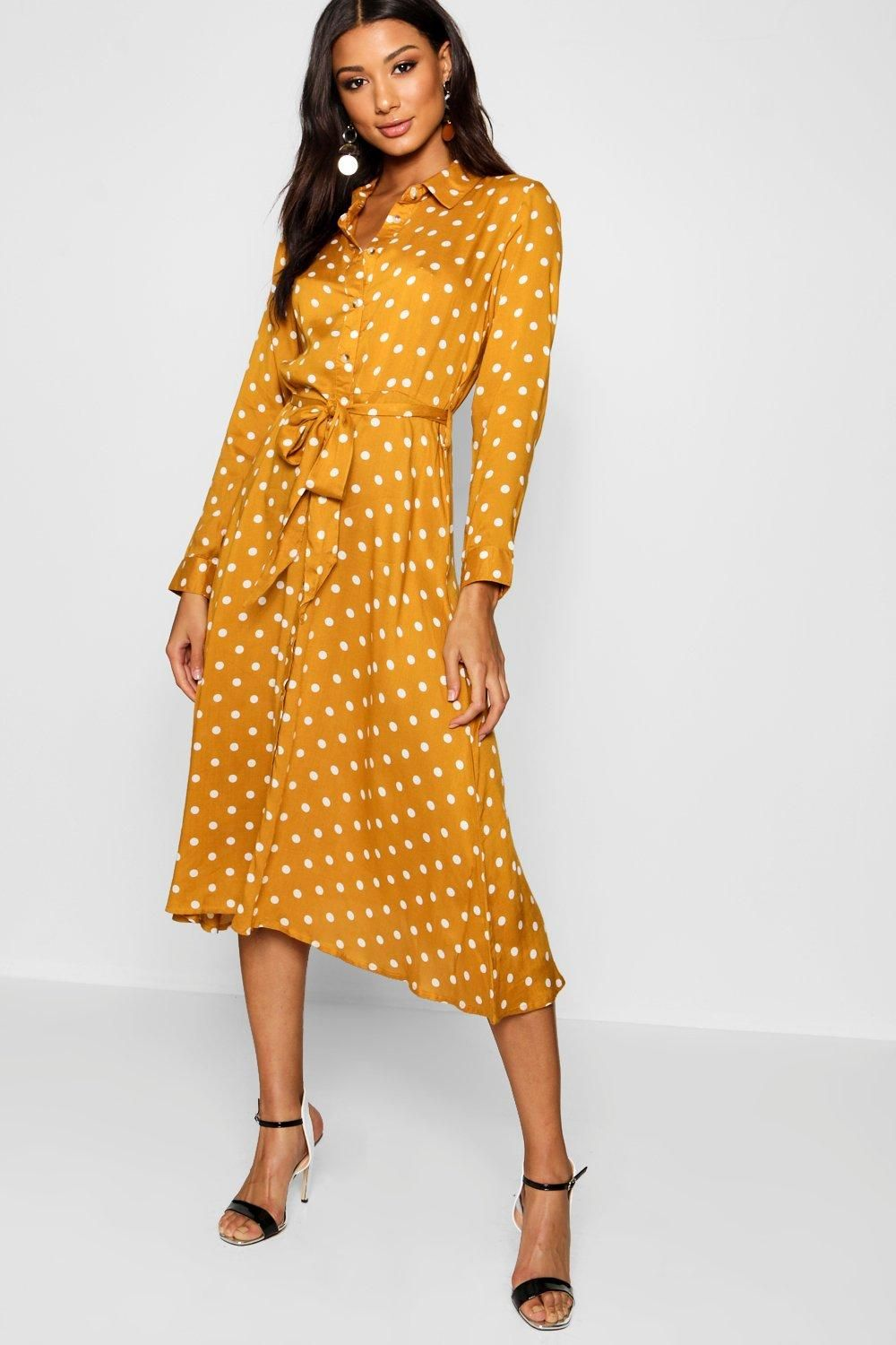 b6333c035d78 Click here to find out about the Horn Button Polka Dot Midi Shirt Dress  from Boohoo, part of our latest Buttons collection ready to shop online  today!