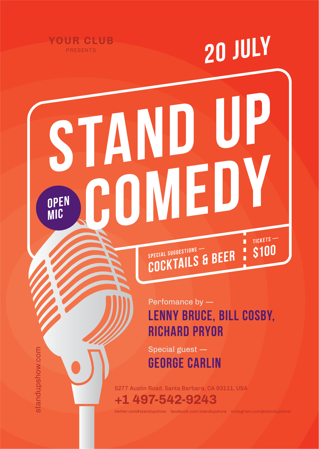 standup poster template poster