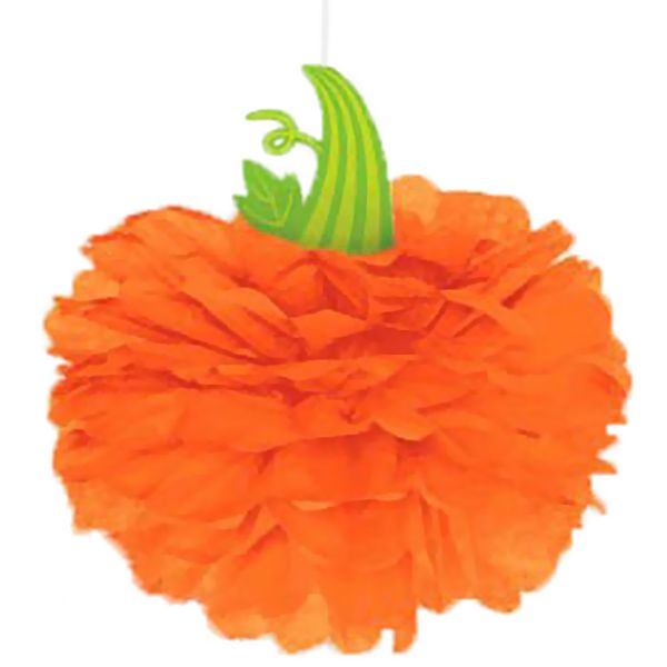 This pumpkin tissue ball decoration measures 16 inches and would be - bulk halloween decorations