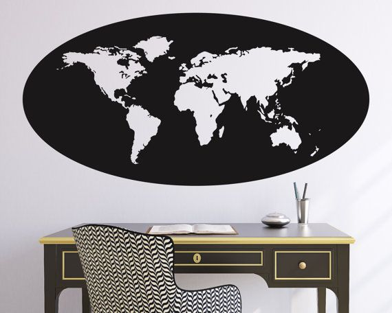 World map oval outline wall decal wall decals walls and room ideas world map oval outline wall decal gumiabroncs Image collections