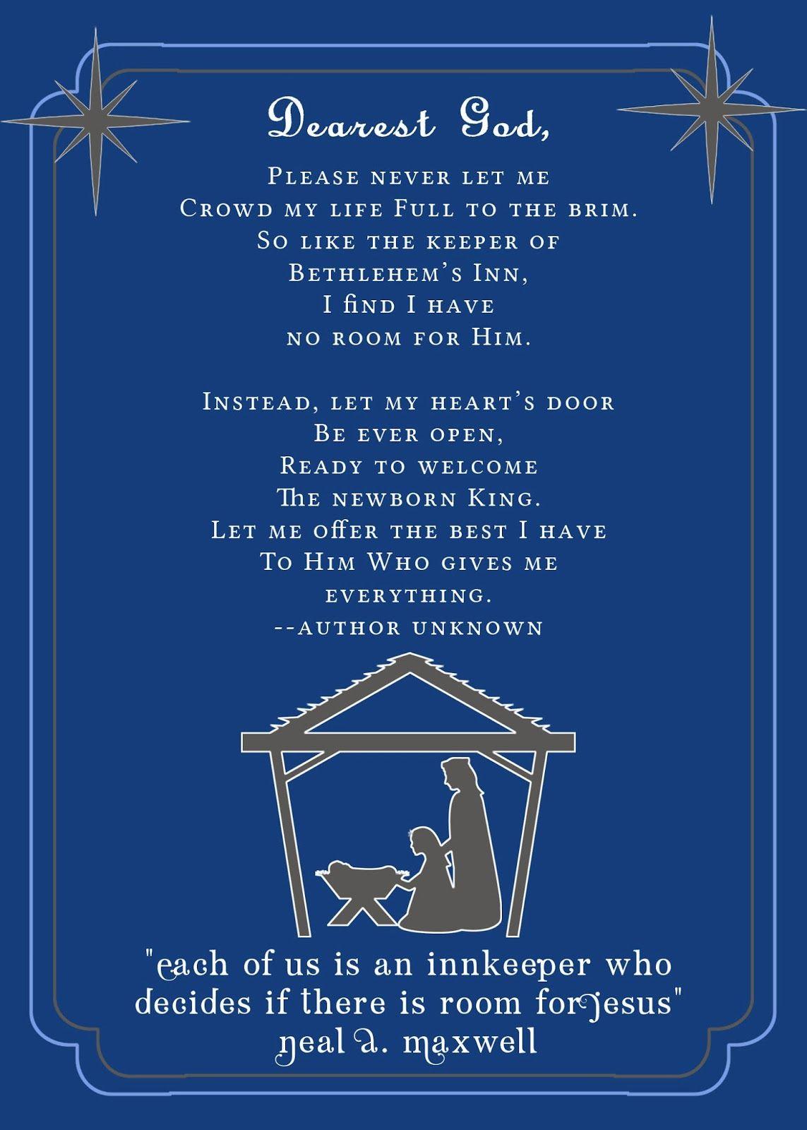 Innkeepers Poem Printable