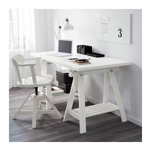 LINNMON FINNVARD Table black brown, white | Ikea, Fitted