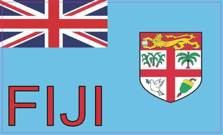 5in X 3in Labeled Fiji Flag Sticker Vinyl Vehicle Bumper Flags