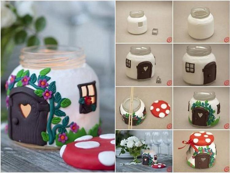 Een glazen pot omgetoverd tot een kabouterhuisje gemaakt van fimo klei en binnenin kan je een - Voorbeeld van decoratie ...