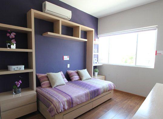 Recamara de ni as en color purpura y detalles de madera for Decoracion recamara nina