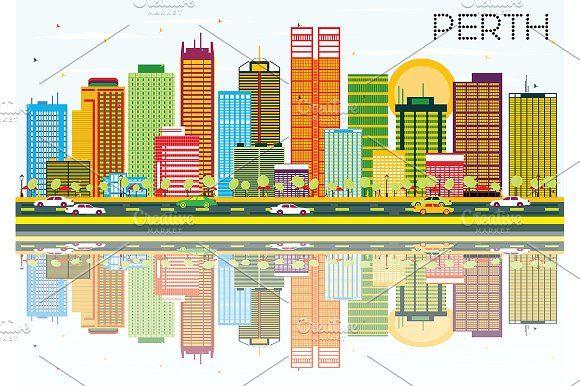 #Perth #Skyline with #Color #Buildings by Igor Sorokin on @creativemarket