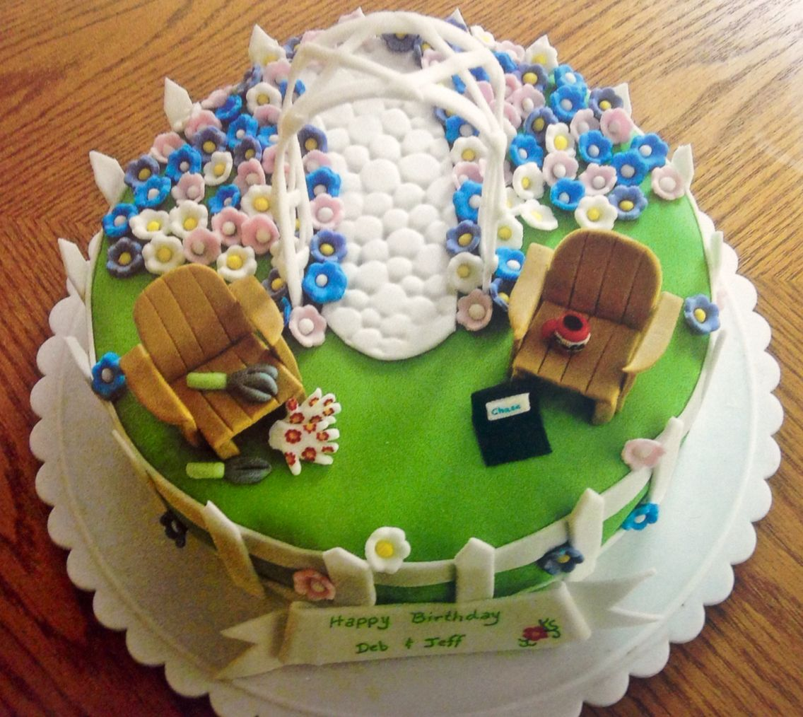 Garden theme cake complete with a trellis, cobblestone pathway ...