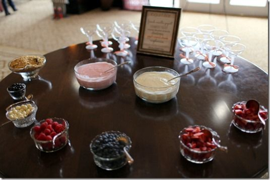 bridal shower yogurt bar with plastic martini glasses