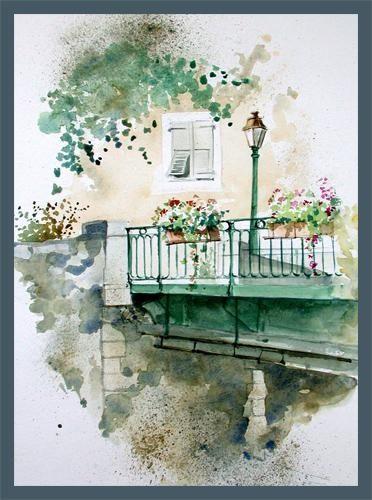Ancien Pont Aquarelle Art Paysage Pont