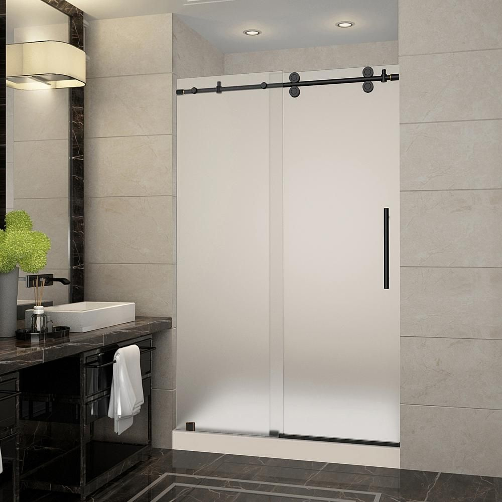 Frameless Sliding Shower Door With Frosted Glass In Oil Rubbed Bronze And Right Base Sdr978f Tr Orb 48 10 R The Home Depot
