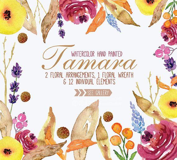 Watercolor Floral Clipart PNG Wedding Bouquet Arrangement Frames Digital